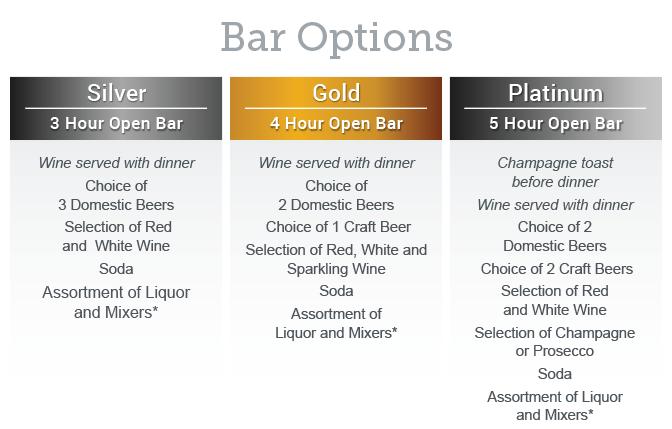Chestnut Wedding Bar Options